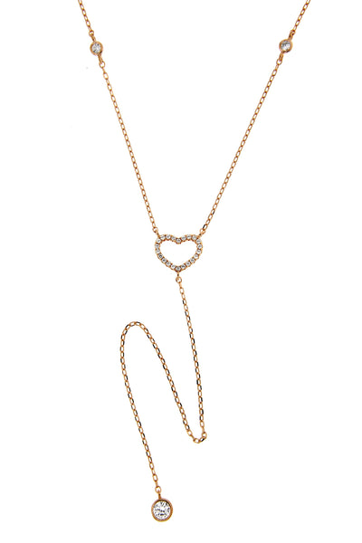 Rose Gold Heart CZ Lariat Necklace