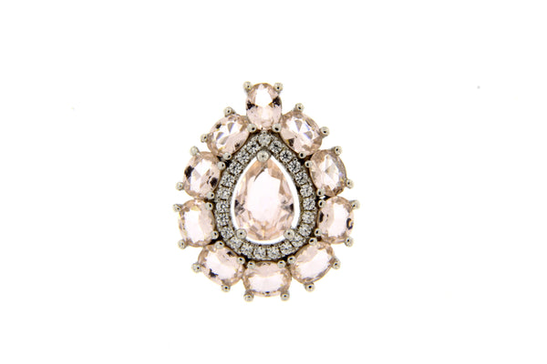Morganite CZ Teardrop Pendant