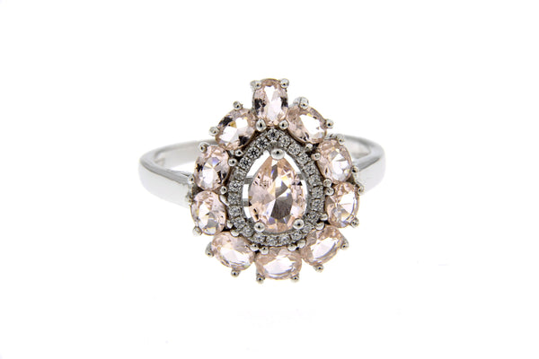Morganite CZ Teardrop Ring