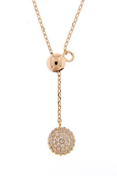 Sterling Silver Rose Gold Plated CZ Ball Lariat Necklace