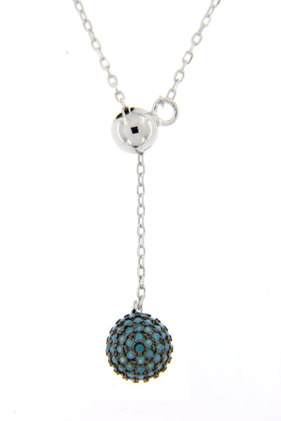 Turquoise CZ Ball Lariat Necklace