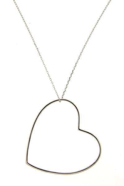 Rhodium Open Heart Necklace