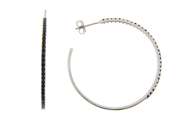 Black CZ Hoop Earrings