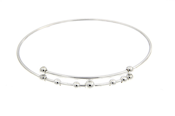 Sterling Silver Adjustable Charm Bead Bangle