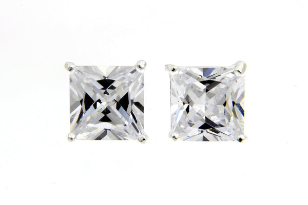 Sterling Silver CZ Square Stud Earrings/9mm