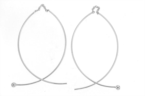 Sterling Silver Curved Threader Ball Earrings