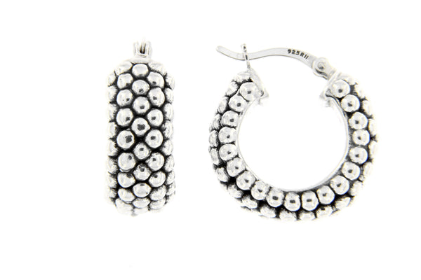 Sterling Silver Ball Hoop Earrings