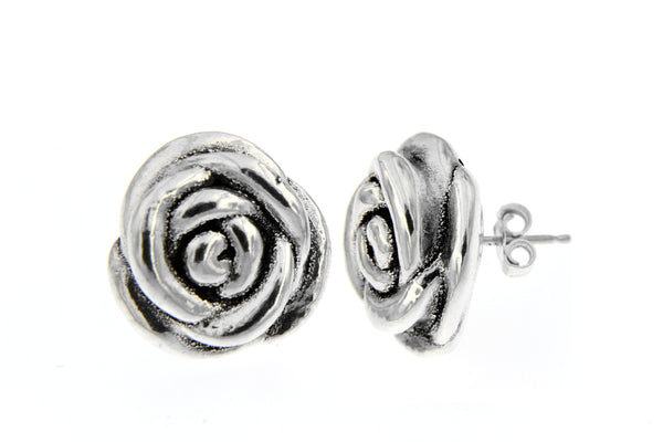 Sterling Silver Rose Blossom Earrings/17mm