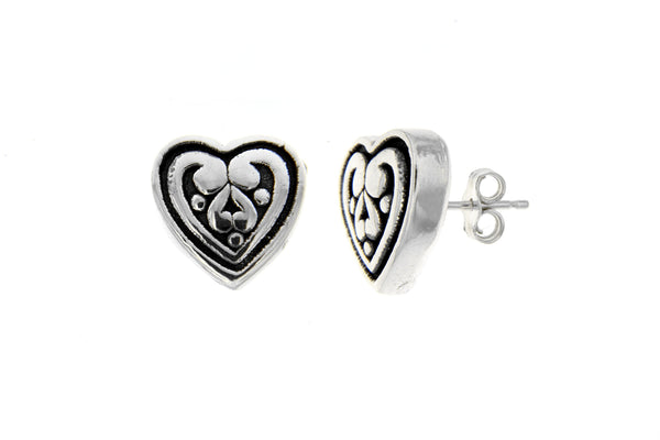 Sterling Silver Heart Filigree Stud Earrings