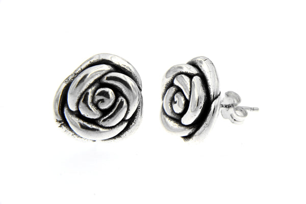 Sterling Silver Rose Blossom Earrings/15mm