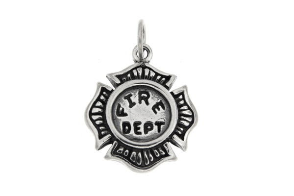 Sterling Silver Fireman's Badge Charm