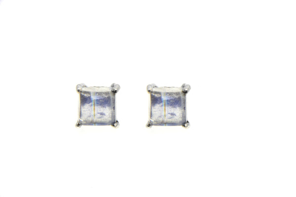 Silver Natural Stone Square Stud Earrings