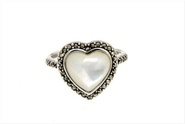 Mother of Pearl Heart Marcasite Ring