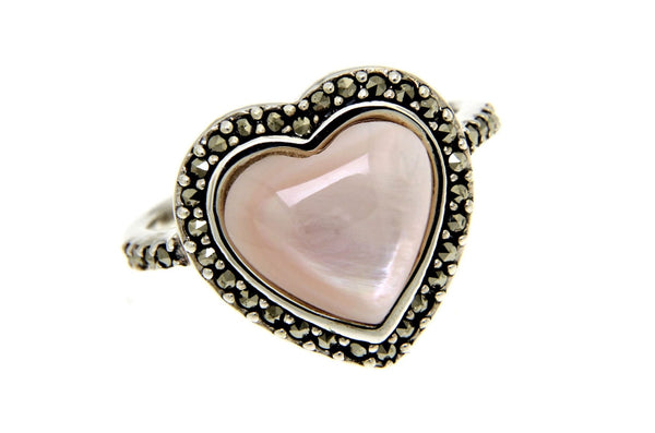 Pink Mother of Pearl Heart Marcasite Ring