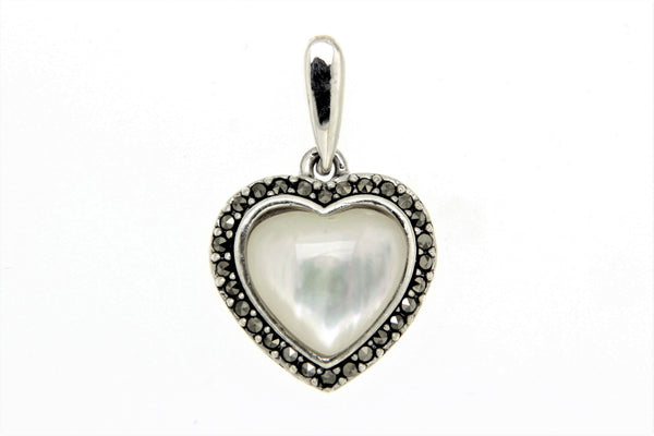 Mother of Pearl Heart Marcasite Pendant
