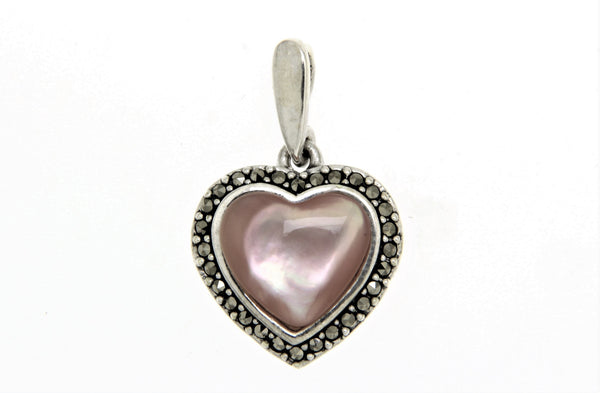 Pink Mother of Pearl Heart Marcasite Pendant
