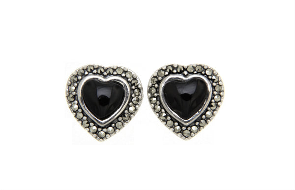 Black Onyx Heart Marcasite Earrings
