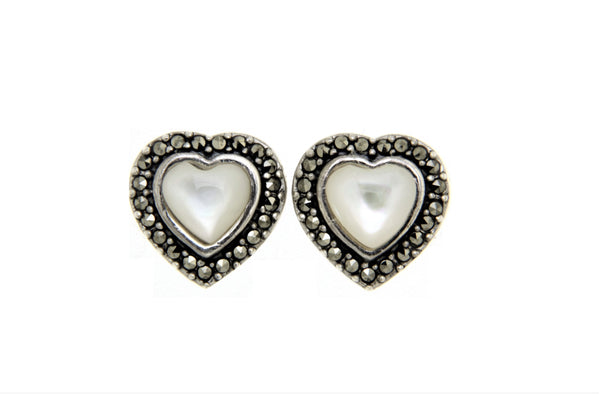 Mother of Pearl Heart Marcasite Earrings