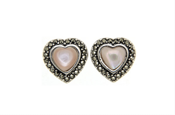 Pink Mother of Pearl Heart Marcasite Earrings