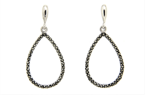Teardrop Marcasite Dangle Earrings