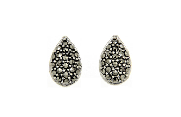 Teardrop Marcasite Stud Earrings