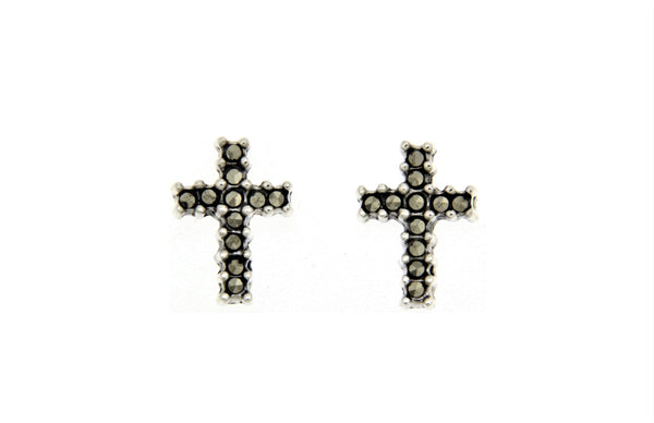 Cross Marcasite Stud Earrings