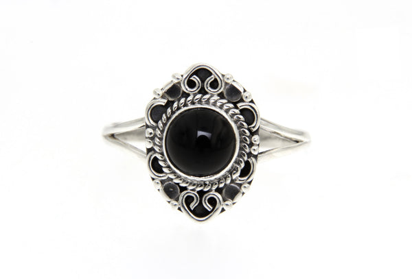 Black Onyx Filigree Ring