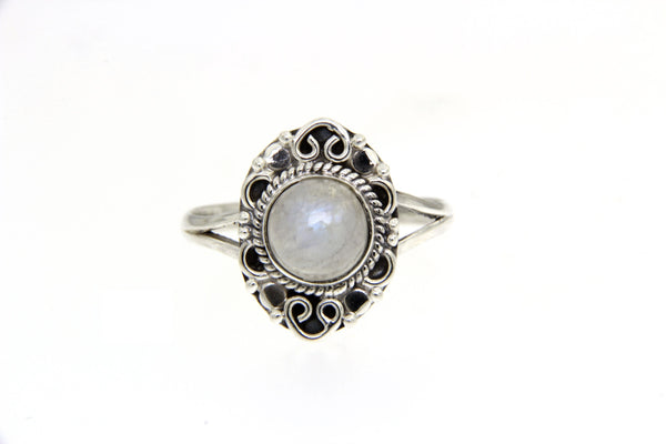Rainbow Moon Stone Filigree Ring