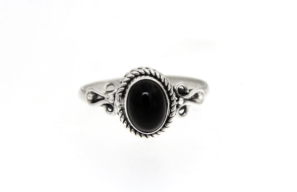 Black Onyx Oval Bali Ring