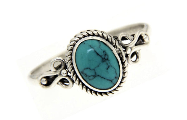 Turquoise Oval Bali Ring