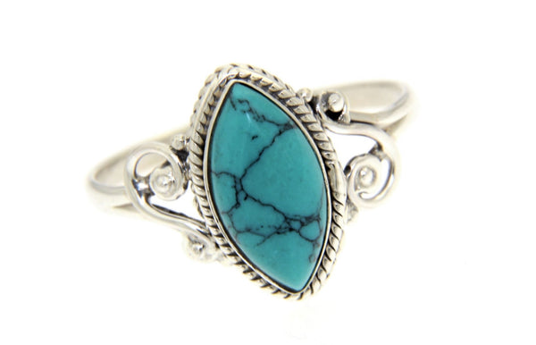 Sterling Silver Turquoise Bali Ring
