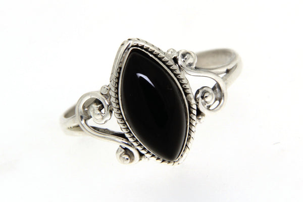 Sterling Silver Black Onyx Bali Ring