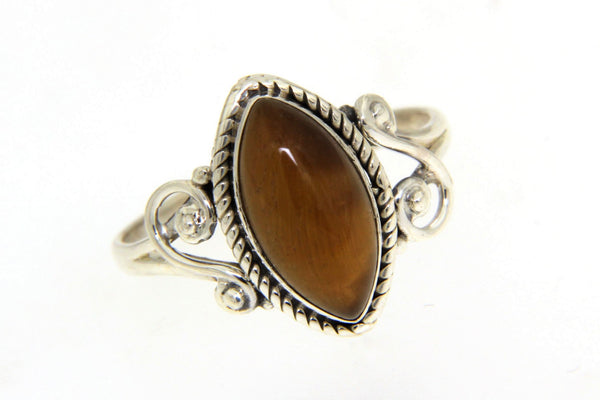 Sterling Silver Tiger's Eye Bali Ring