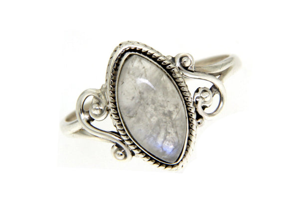 Sterling Silver Rainbow Moonstone Bali Ring