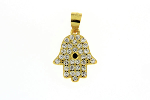 Sterling Silver Gold Plated Hamsa Hand CZ Pendant
