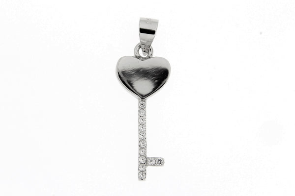 Rhodium Heart Key CZ Pendant