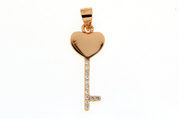 Rose Gold Heart Key CZ Pendant