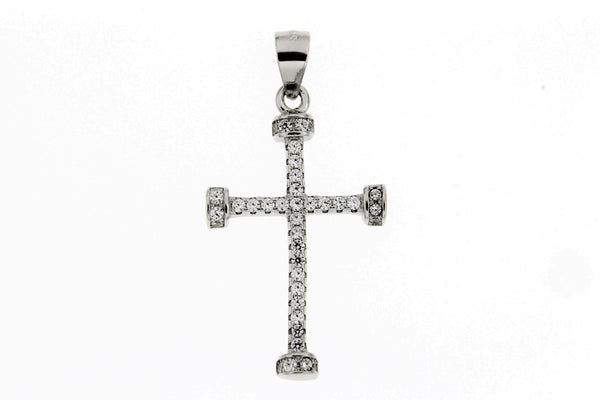 Rhodium Cross CZ Pendant