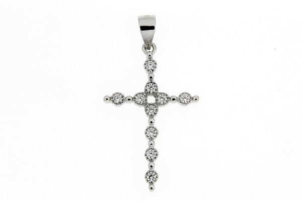 Rhodium CZ Cross Pendant