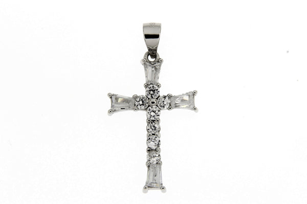 Rhodium Baguette CZ Cross Pendant