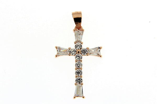 Sterling Silver Rose Gold Plated Baguette CZ Cross Pendant