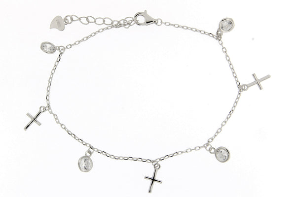 Rhodium Cross CZ Charm Bracelet