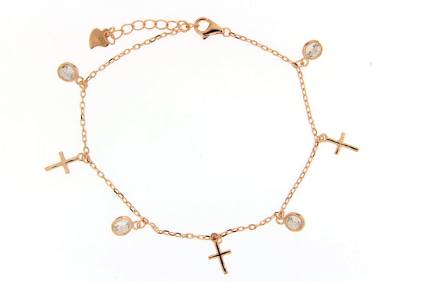 Sterling Silver Rose Gold Plated Cross CZ Charm Bracelet