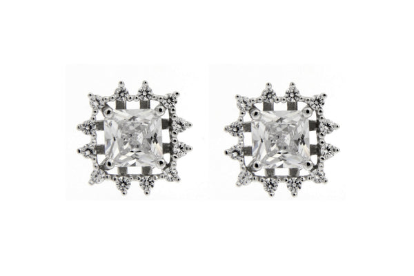 Halo Square CZ Stud Earrings