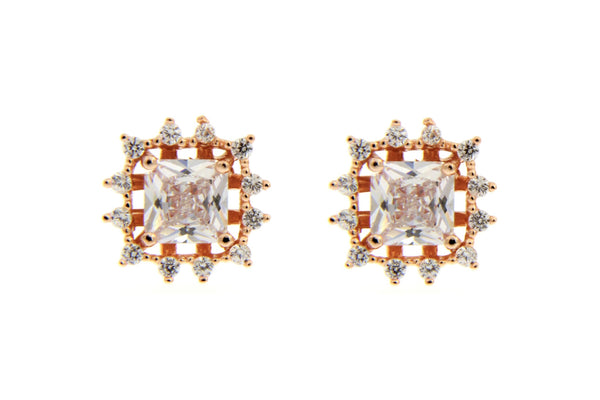 Rose Gold Halo Square CZ Stud Earrings
