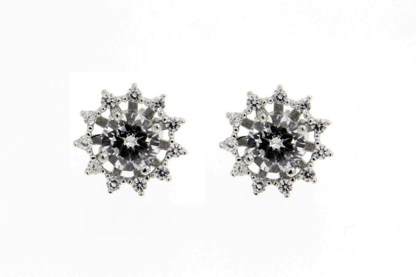 Round Halo CZ Stud Earrings