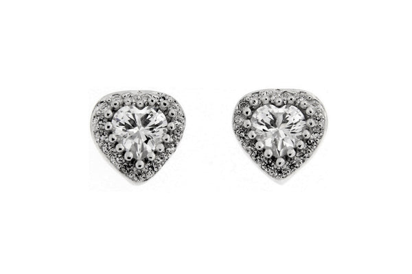 Sparkling Heart CZ Stud Earrings