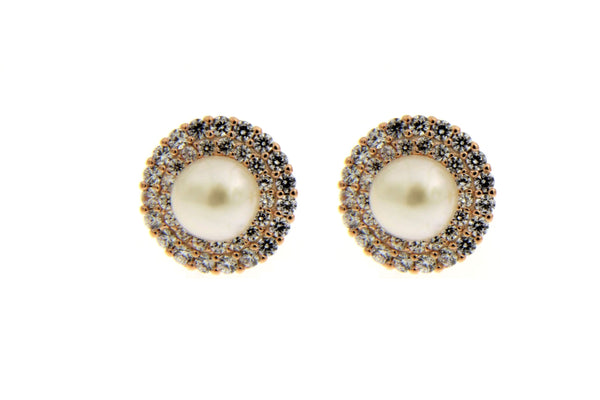 Rose Gold Pearl Halo CZ Stud Earrings
