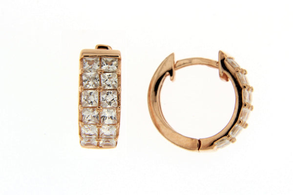 Sterling Silver Rose Gold Plated CZ Huggie Hoop Earrings