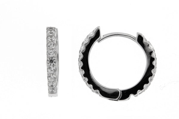 Rhodium CZ Huggie Hoop Earrings